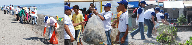 Volunteers from Calapan City, SPEX and SSSC-Manila work hand-in-hand in cleaning the shores of Calapan