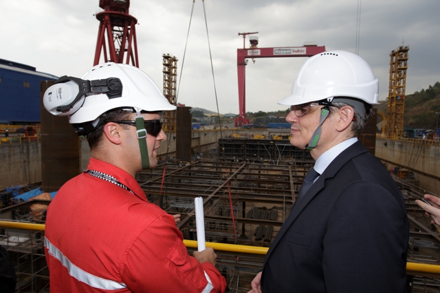 Nathan Stephenson, MP3 Company Site Representative, tours the EU Delegation around the Keppel Subic Shipyard --site of ongoing fabrication activities for Malampaya's second gas platform.