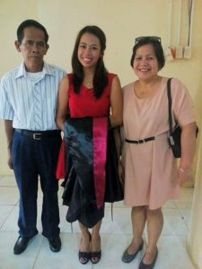 Kristine Wagan with her parents